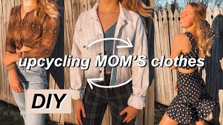 STEALING and UPCYCLING my mom's old clothes ~DIY THRIFT FLIP~
