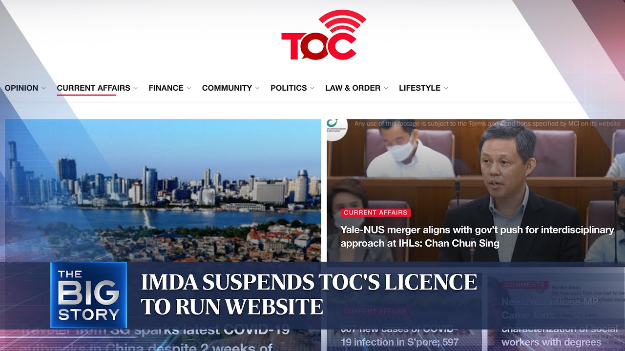 Download IMDA suspends The Online Citizen's licence to run website, social media   THE BIG STORY