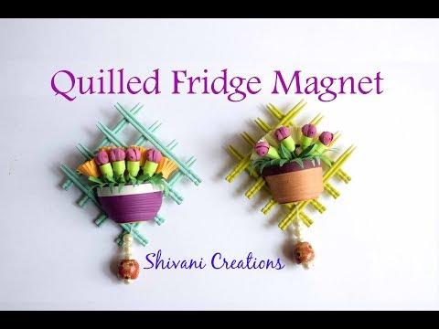 Quilling Fridge Magnet/ Quilled Flower Vase Fridge Magnet