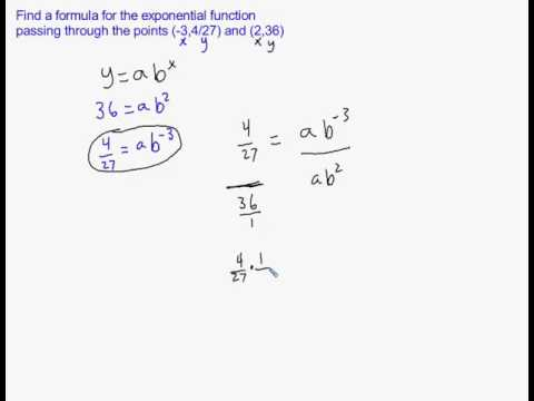 Find An Exponential Equation Given 2 Points
