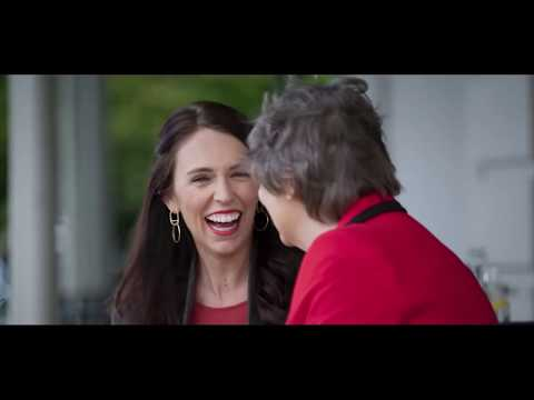 New Zealand Prime Minister Jacinda Ardern and former Prime Minister Helen Clark talk gender equality