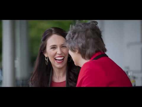 New Zealand Prime Minister Jacinda Ardern and former Prime Minister Helen Clark talk gender equality