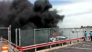 Boat fire in Brooklyn New York