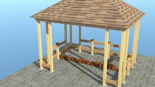 Строим беседку с четырёхскатной крышей(Строим беседку с четырёхскатной крышей своими руками по каркасной технологии фото видео проект и инструкц..., 2015-02-23T11:52:21.000Z)