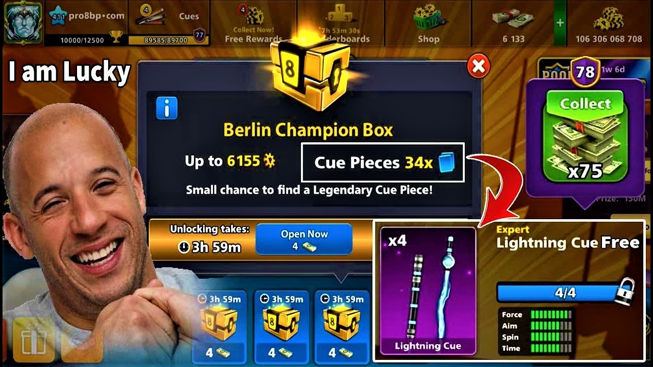 8 ball pool Lightning Cue 🤯 Pieces 34× Berlin Champion Box Collect 75 Cash