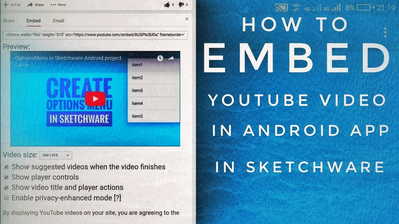 Embed YouTube video in Sketchware App