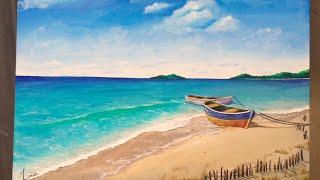 Time Lapse: Tropical Shore Beach Scene   Acrylic Painting Tutorial
