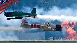 アメリカの航空ショーでの零戦(ゼロ戦)や97式のレプリカ機による超低空...