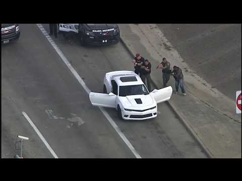 Chevy Camaro with 'Scream' masks bandits lead police chase
