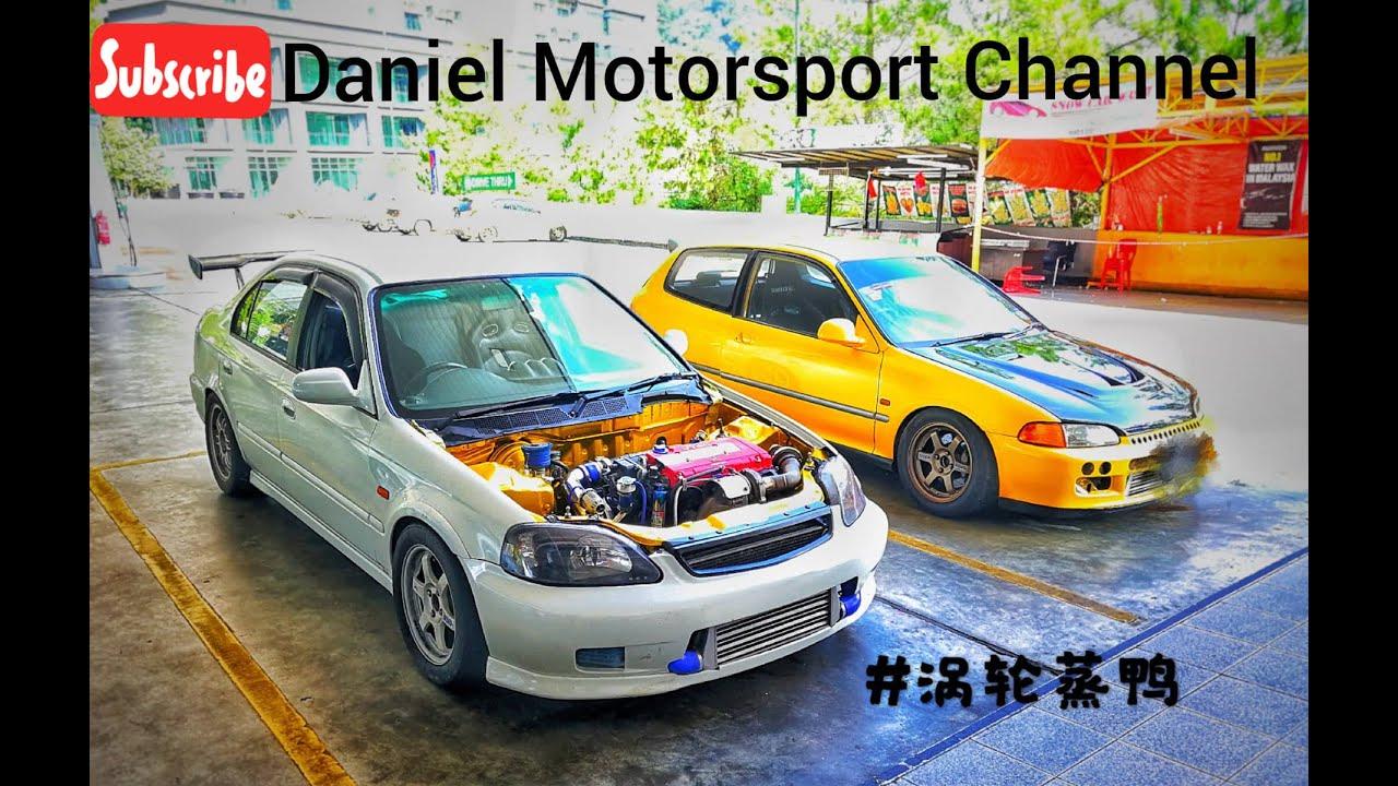 #VtecTurbo No bonnet try on the road Honda Civic #EK 3 Topline DuckTeam Power House Racing #jdm