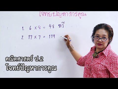 คณิตศาสตร์ ป. 2 โจทย์ปัญหาการคูณ ครูอัญชลี สุกใส