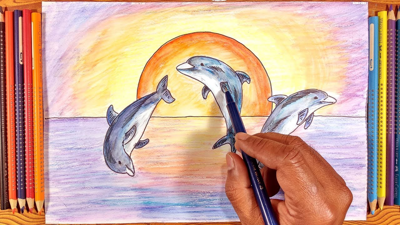 - How To Draw Dolphin With Colored Pencil For Kids Step By Step