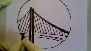 How To Draw Golden State Warriors Logo Symbol Emblem Easily Step By Gate Bridge NBA Champions