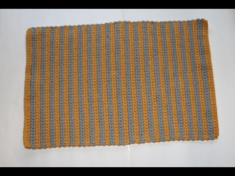prostokątny dywan w paski na szydełku  / crochet rectangle rug with cotton rope