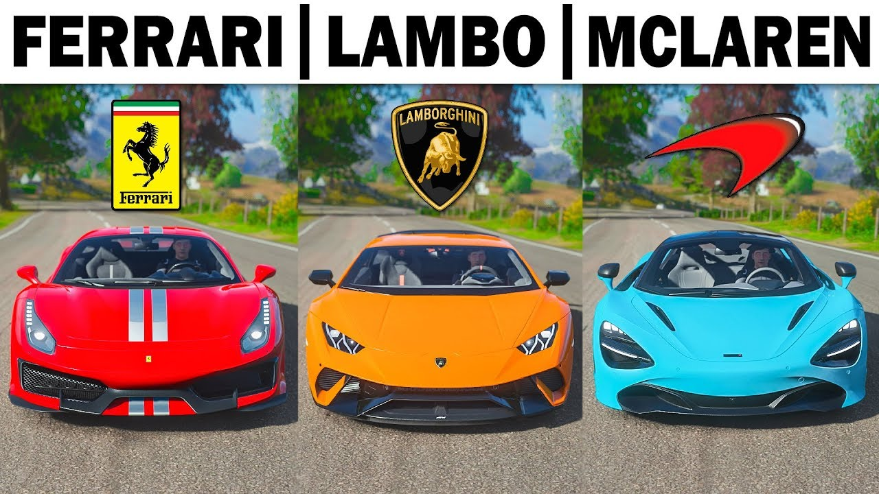Forza Horizon 4 Ferrari Vs Lamborghini Vs Mclaren Supercars Youtube