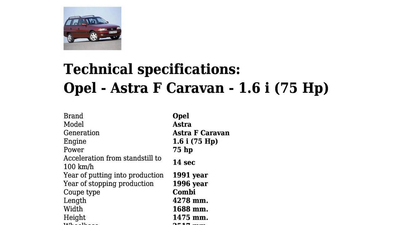 Opel  Astra F Caravan  16 i 75 Hp  Technical specifications