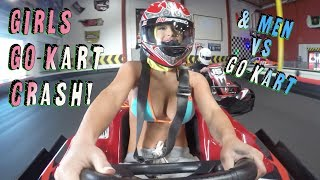 GIRLS go kart crash & men vs go kart
