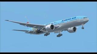 PMDG 777 Korean air heavy raining landing at Incheon with 777 immersion,fsx,fs2crew