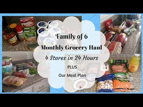 Monthly Grocery Haul - 4 Stores + Meal Plan - Family of 6