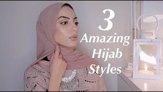 3 Simple Hijab Styles / Easy Chiffon Tutorial