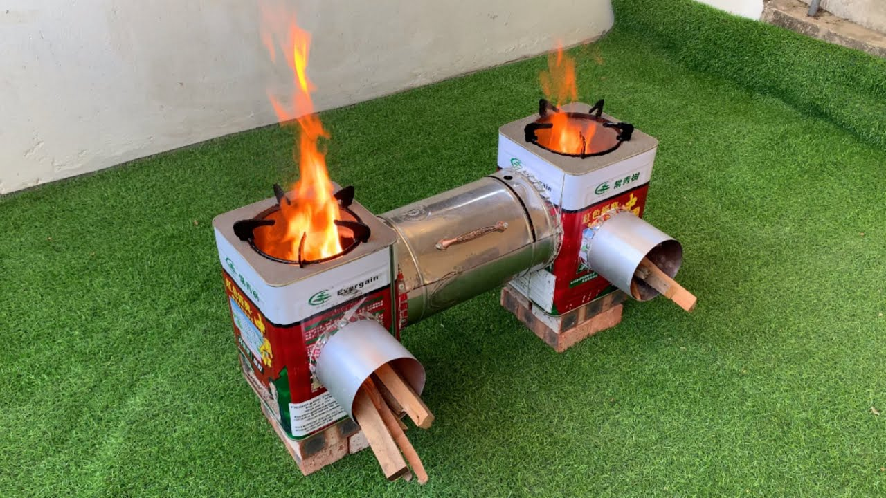 Create a wood stove from a discarded iron box but extremely effective. Ideas made from cement