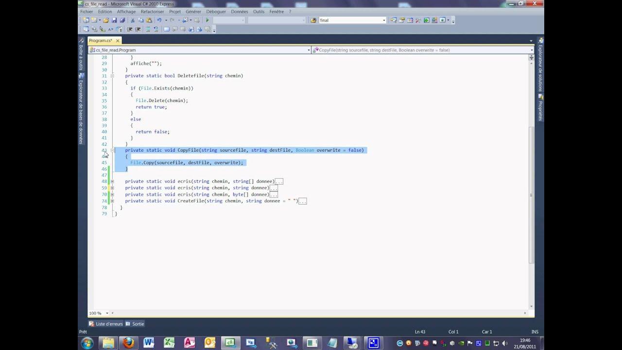 Tutoriel 37 File move en C# en français première partie