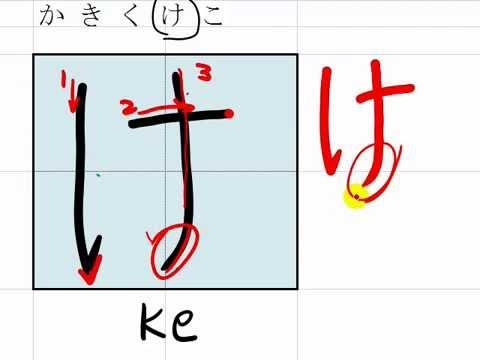 """2. How to write Hiragana, """"ka ki ku ke ko"""" かきくけこ in hand writing"""
