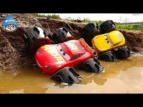 Disney Lightning McQueen Monster Truck Toy. Racing across the dirt and water.