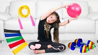 Kids wants to be Slim, Exercises and eats Healthy food
