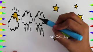 Baby Drawings | Sky Cloud Moon Stars | Art For Kids | How To Draw Stars | Coloring Drawing Pages