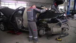 Mercedes Benz E200 - часть процесса замены боковины. Фабрика Кузовного Ремонта.