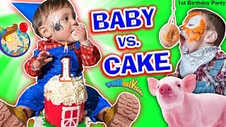 BABY vs CAKE! Shawn's 1st Birthday Party! Family Games & Activities w  FUNnel Vision + Presents