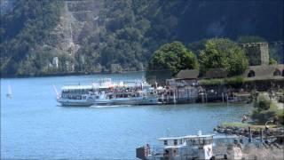 Dampfschiff Unterwalden 1. Kursfahrt unter der Acheregg Brücke in Stansstad