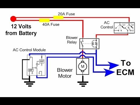 hqdefault auto hvac condenser fan circuit youtube electric car fan wiring diagram at aneh.co