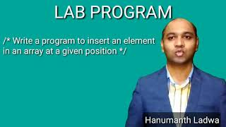Write a program to insert an element into an array at a given position | 2nd puc computer science