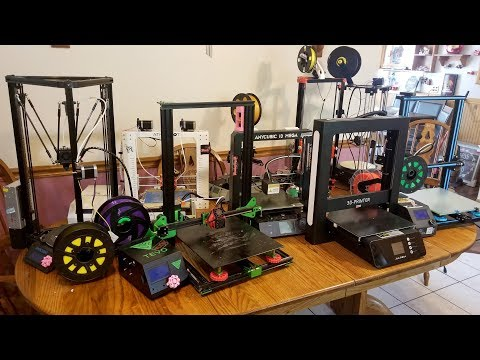 Comparing all my 3D printers.  Best 3D printer 2018.