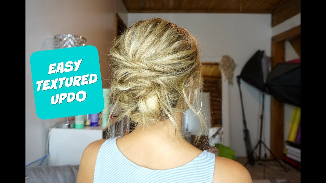 Easy Textured Updo Hairstyle For Short Medium And Long Hair