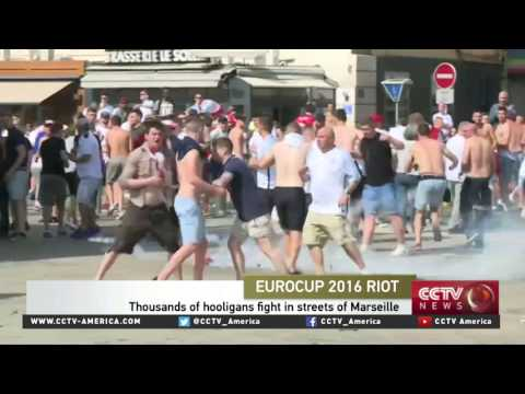 EuroCup soccer fans fight in the streets...