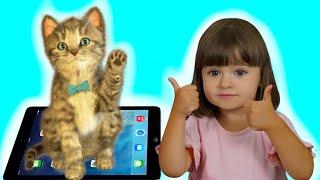 Арина играет в игру Мой Маленький Котенок | Ухаживаем за виртуальным питомцем