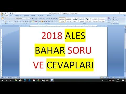 2018 ALES FULL BAHAR SORU VE CEVAPLARI FULL tek video