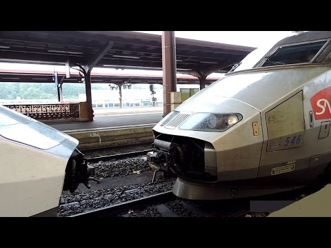 Coupling and departing of 2 TGV trains!