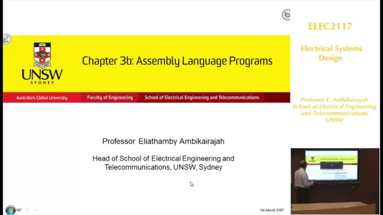 Embedded SystemS - Chap 3b - Assembly Language Programs - Professor E. Ambikairajah - UNSW Sydney