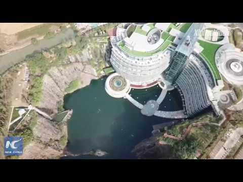 Breathtaking aerial view: underground hotel opens in Shanghai