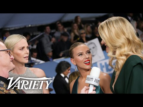 Scarlett Johansson & Charlize Theron Crash Laura Dern's Red Carpet Interview