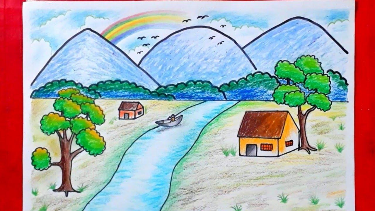 Hướng dẫn từng bước vẽ tranh phong cảnh cho người mới bắt đầu -P1 -Học Vẽ Tranh Đơn Giản