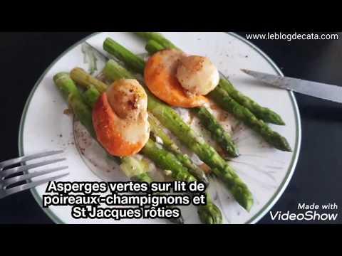 asperges-vertes-sur-lit-de-poireaux--champignons-et-st-jacques-rôties