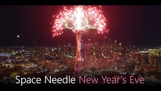 SPACE NEEDLE Fireworks NYE - Drone Video