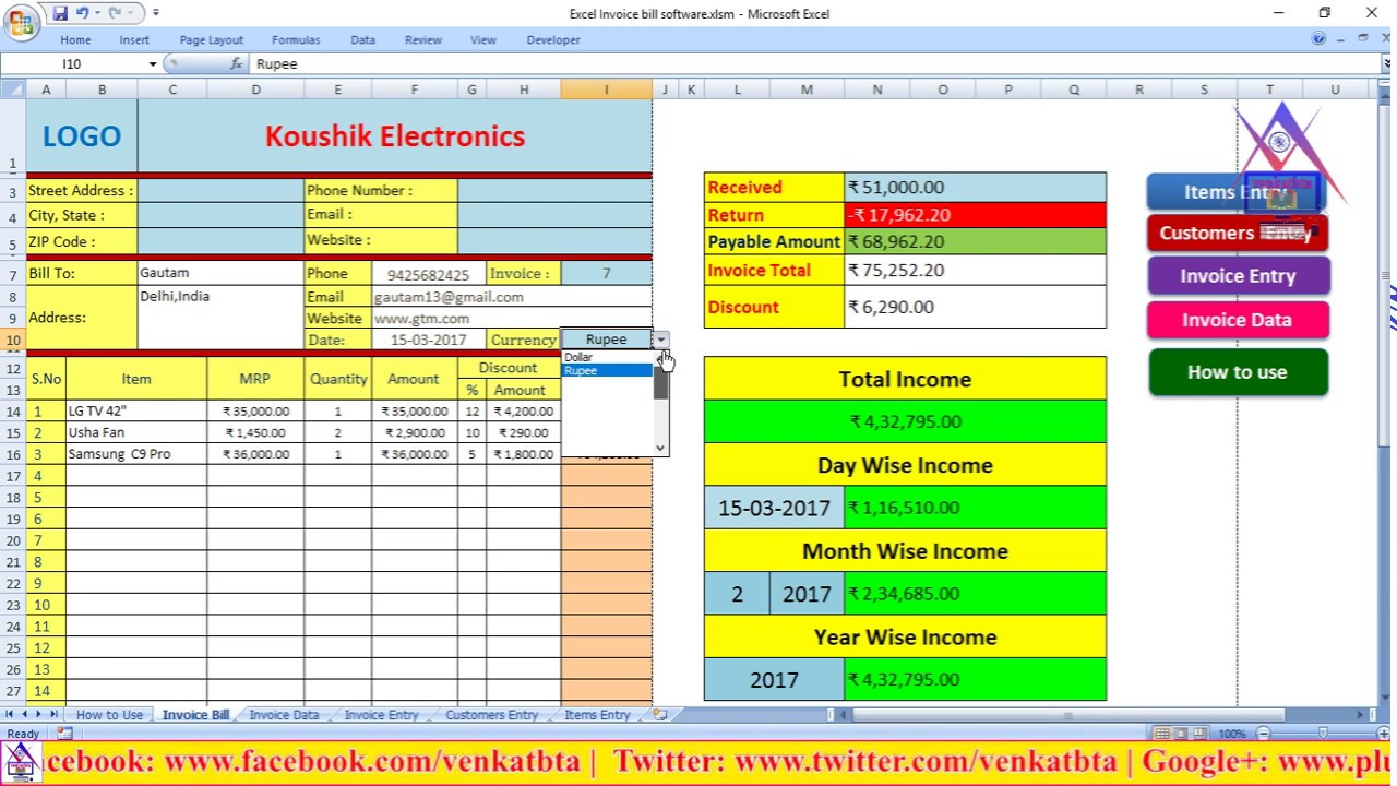Lovely How To Use Excel Invoice Billing Software For Any Business | Venkatbta In Free Excel Invoice Software