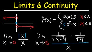 One Sided Limits, Graphs, Continuity, Infinity, Absolute Value, Squeeze Thereom - Calculus Review