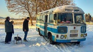 ПАЗ-672. Зимние шашлыки. Автобус толкали всей толпой!